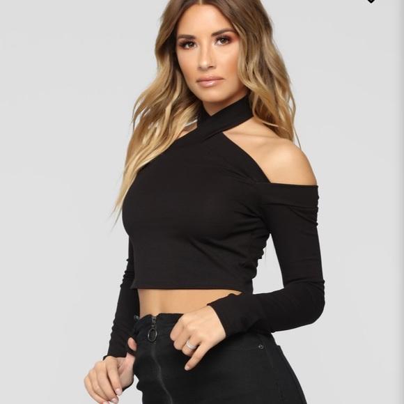 7ab235a0b404d4 Fashion Nova Tops | Black Halter Crop Top | Poshmark
